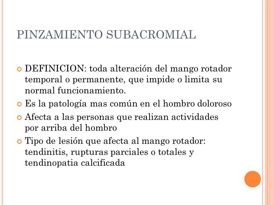 PINZAMIENTO SUBACROMIAL DEFINICION: toda alteración del mango rotador temporal o permanente, que impide o limita su normal funcionamiento. Es la patol