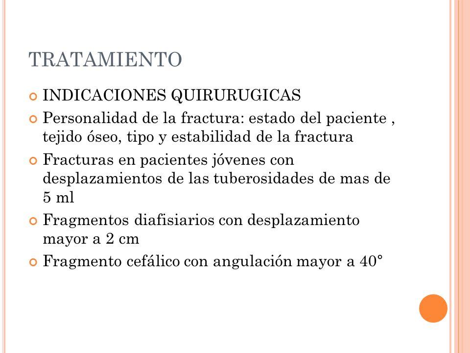 TRATAMIENTO INDICACIONES QUIRURUGICAS Personalidad de la fractura: estado del paciente, tejido óseo, tipo y estabilidad de la fractura Fracturas en pa