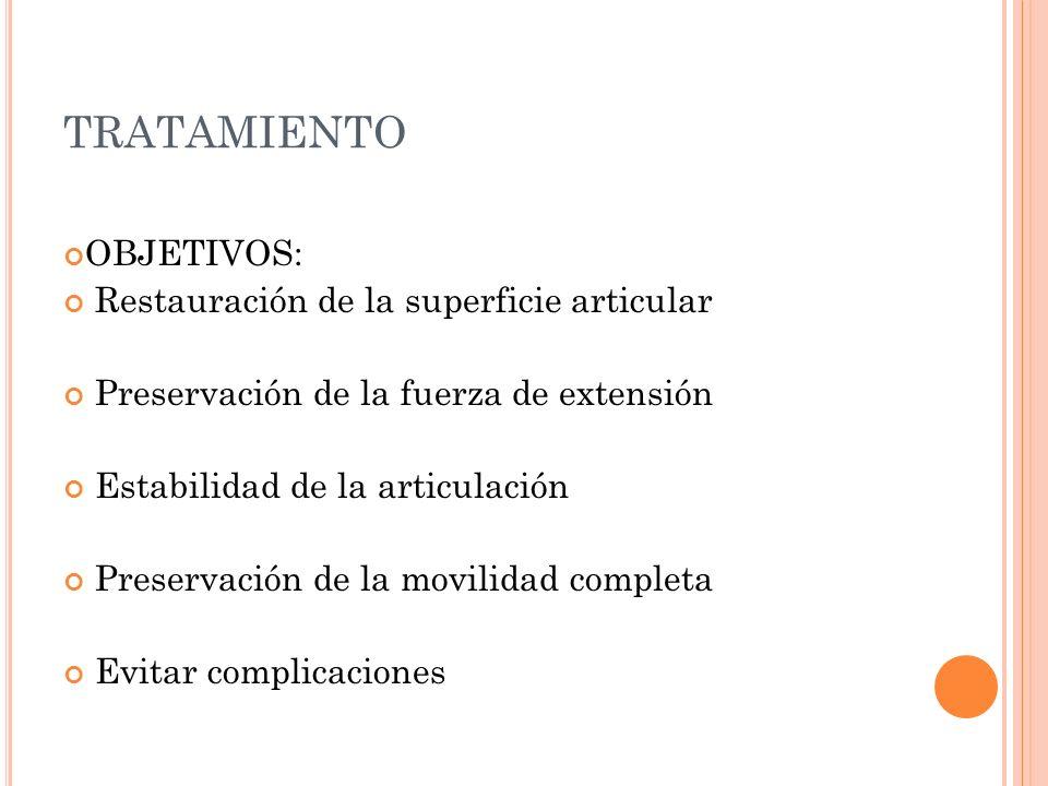 TRATAMIENTO OBJETIVOS: Restauración de la superficie articular Preservación de la fuerza de extensión Estabilidad de la articulación Preservación de l