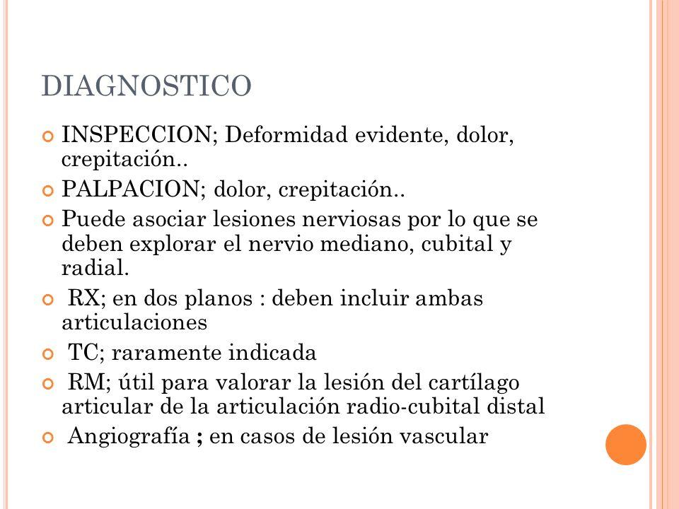 DIAGNOSTICO INSPECCION; Deformidad evidente, dolor, crepitación.. PALPACION; dolor, crepitación.. Puede asociar lesiones nerviosas por lo que se deben