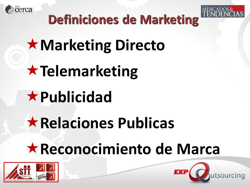 Definiciones de Marketing Marketing Directo Telemarketing Publicidad Relaciones Publicas Reconocimiento de Marca