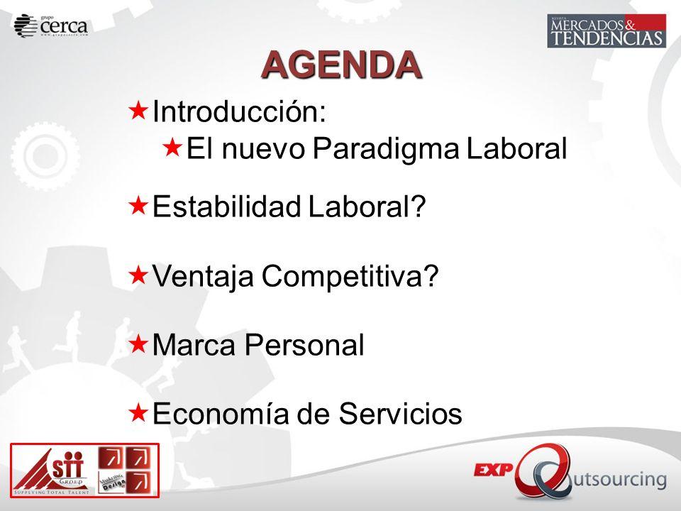 AGENDA Introducción: El nuevo Paradigma Laboral Estabilidad Laboral? Ventaja Competitiva? Marca Personal Economía de Servicios