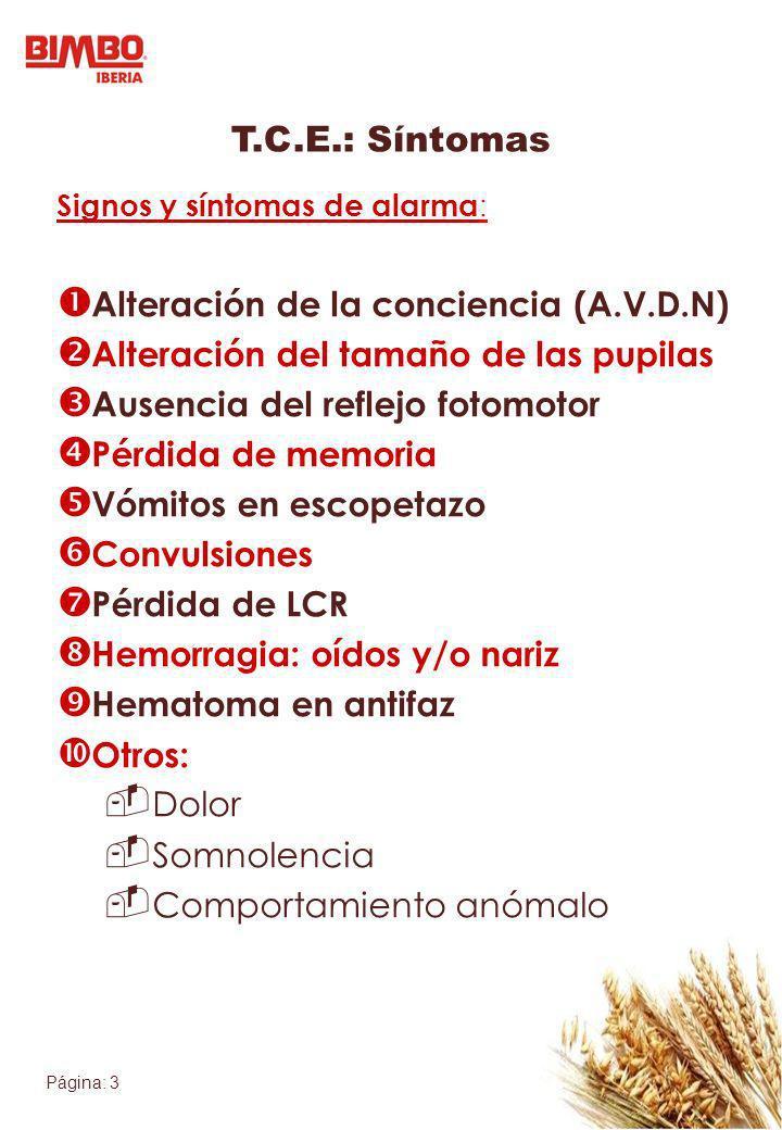 Página: 3 T.C.E.: Síntomas Signos y síntomas de alarma : Alteración de la conciencia (A.V.D.N) Alteración del tamaño de las pupilas Ausencia del refle