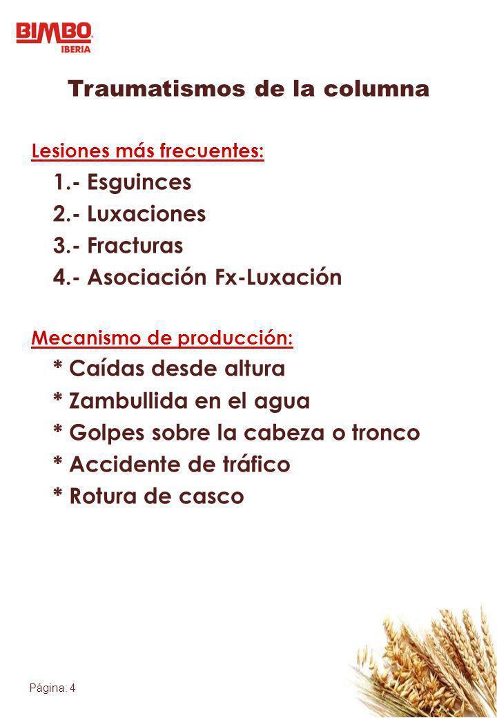 Página: 4 Traumatismos de la columna Lesiones más frecuentes: 1.- Esguinces 2.- Luxaciones 3.- Fracturas 4.- Asociación Fx-Luxación Mecanismo de produ