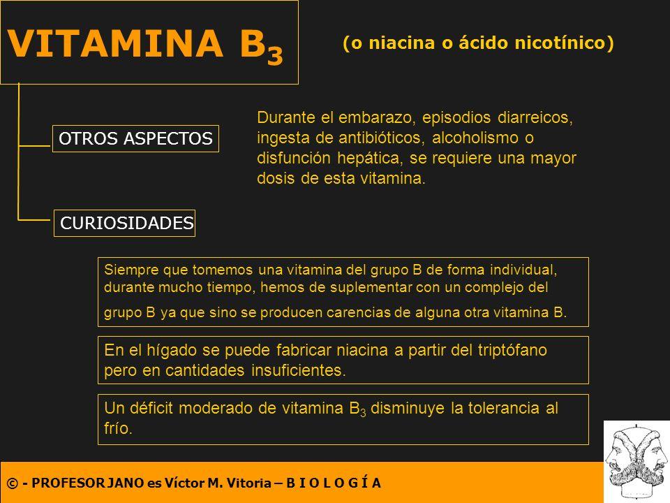 © - PROFESOR JANO es Víctor M. Vitoria – B I O L O G Í A VITAMINA B 3 (o niacina o ácido nicotínico) OTROS ASPECTOS CURIOSIDADES Durante el embarazo,