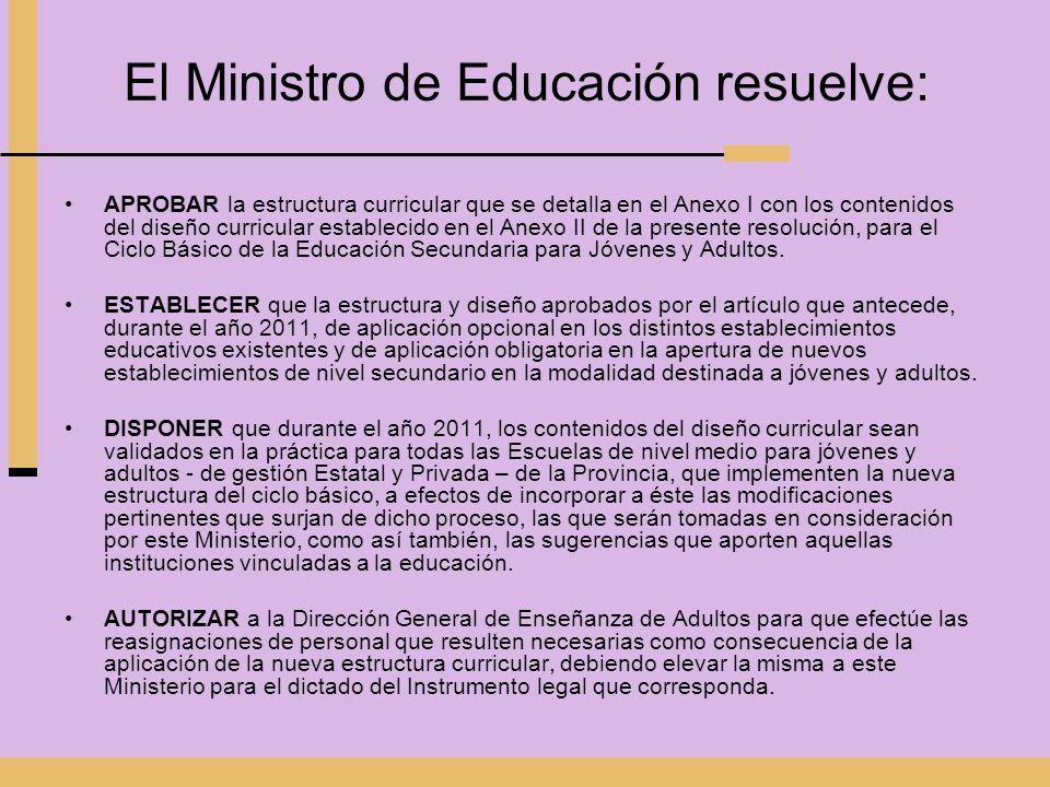 El Ministro de Educación resuelve: APROBAR la estructura curricular que se detalla en el Anexo I con los contenidos del diseño curricular establecido