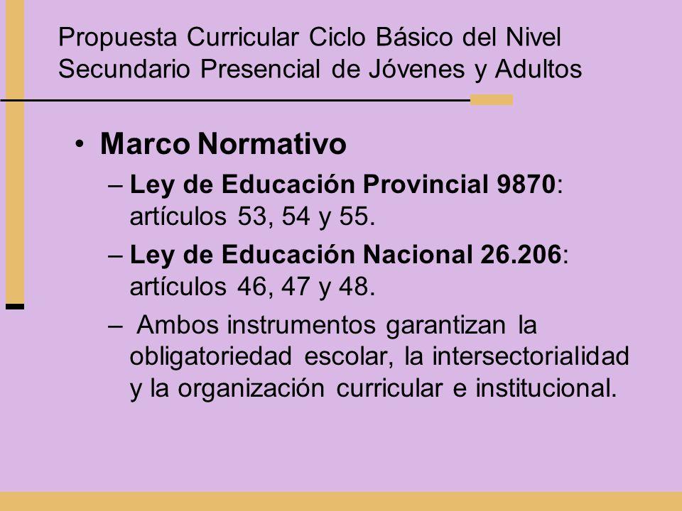 Marco Normativo –Ley de Educación Provincial 9870: artículos 53, 54 y 55. –Ley de Educación Nacional 26.206: artículos 46, 47 y 48. – Ambos instrument