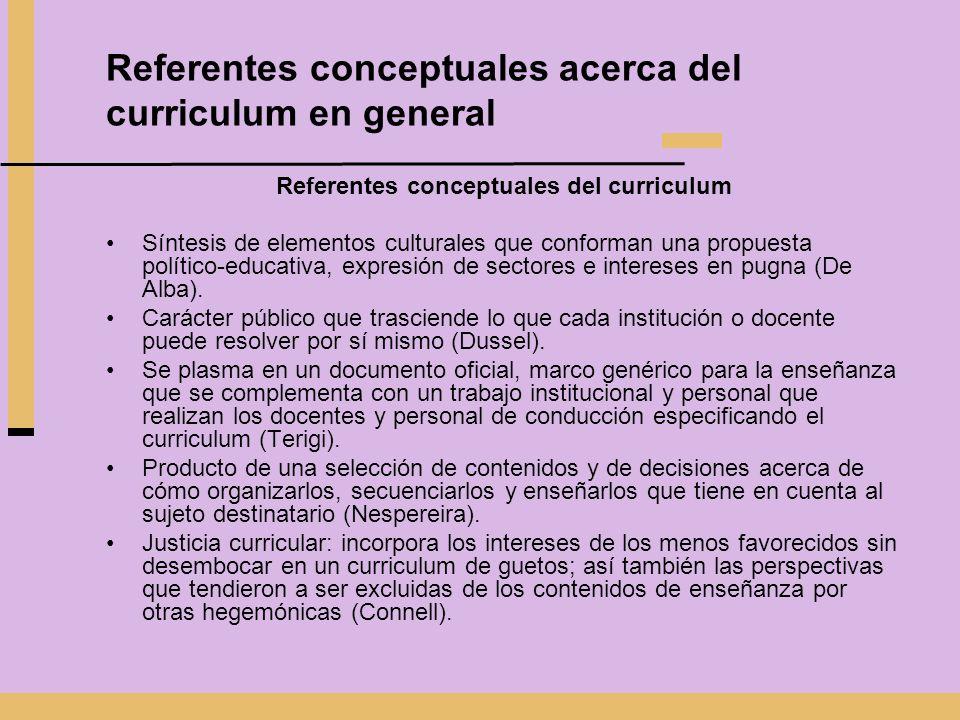 Referentes conceptuales acerca del curriculum en general Referentes conceptuales del curriculum Síntesis de elementos culturales que conforman una pro