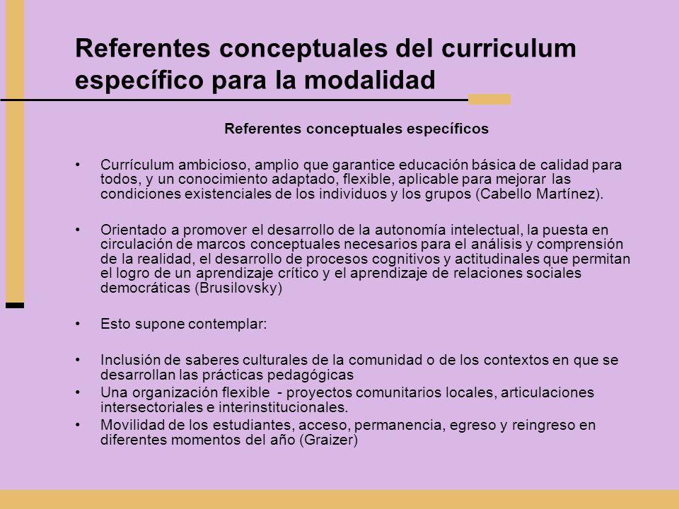Referentes conceptuales del curriculum específico para la modalidad Referentes conceptuales específicos Currículum ambicioso, amplio que garantice edu