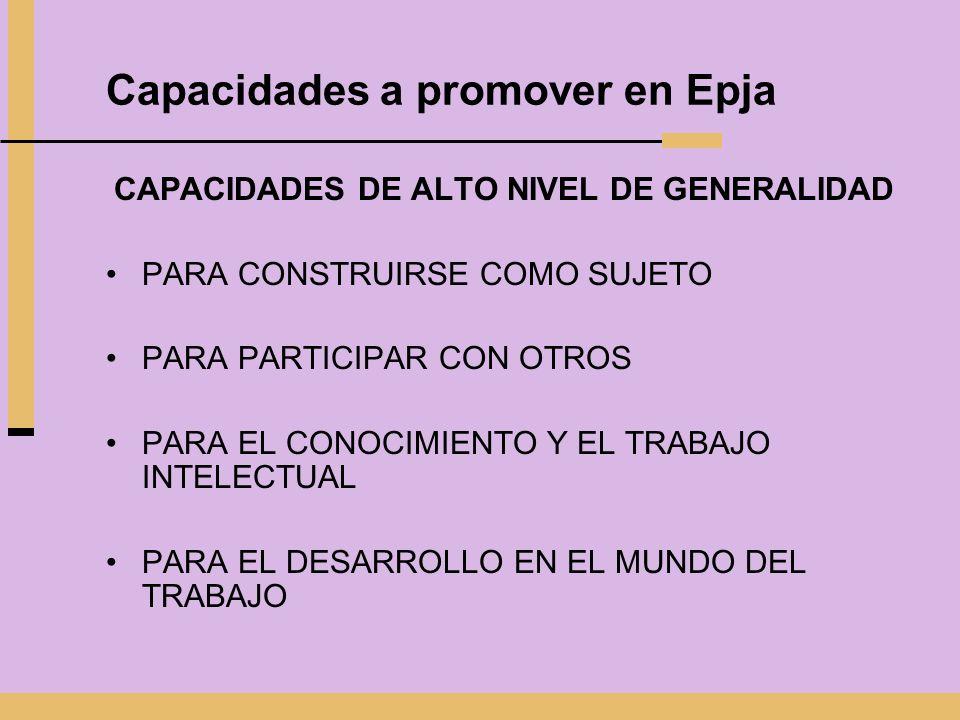 Capacidades a promover en Epja CAPACIDADES DE ALTO NIVEL DE GENERALIDAD PARA CONSTRUIRSE COMO SUJETO PARA PARTICIPAR CON OTROS PARA EL CONOCIMIENTO Y