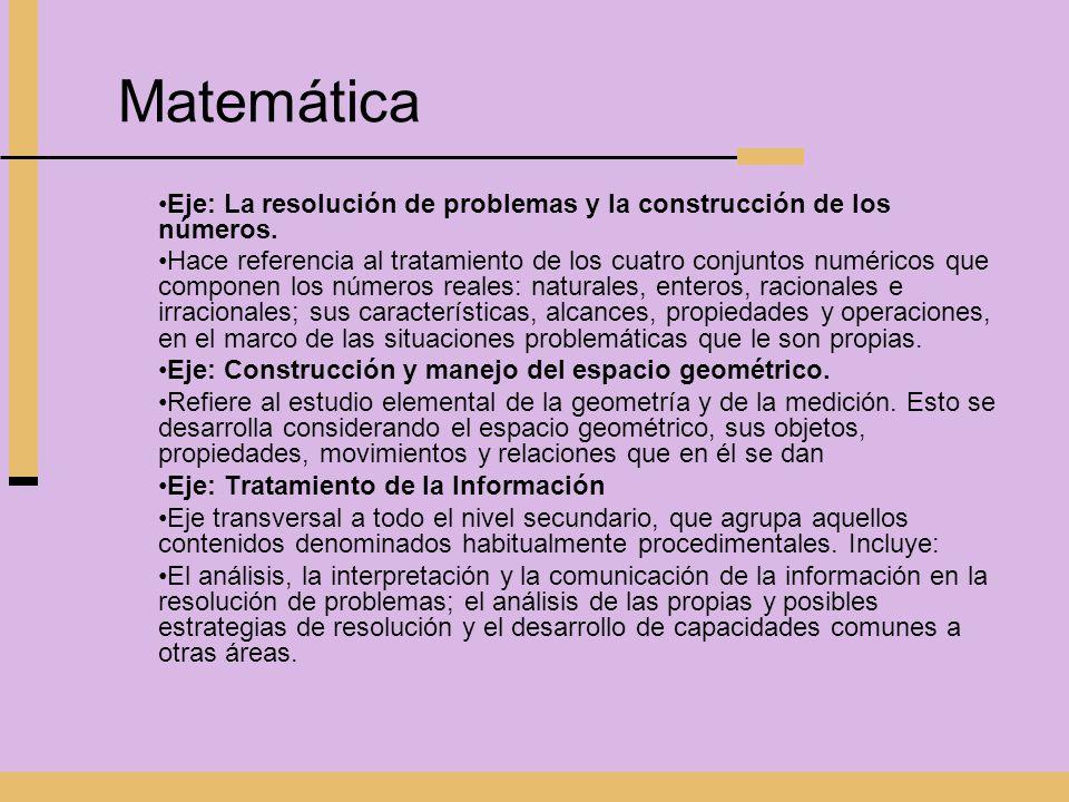 Matemática Eje: La resolución de problemas y la construcción de los números. Hace referencia al tratamiento de los cuatro conjuntos numéricos que comp