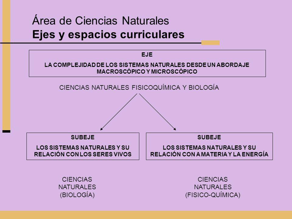 Área de Ciencias Naturales Ejes y espacios curriculares EJE LA COMPLEJIDAD DE LOS SISTEMAS NATURALES DESDE UN ABORDAJE MACROSCÓPICO Y MICROSCÓPICO CIE