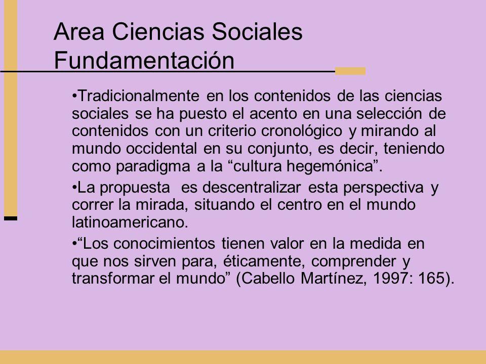 Area Ciencias Sociales Fundamentación Tradicionalmente en los contenidos de las ciencias sociales se ha puesto el acento en una selección de contenido