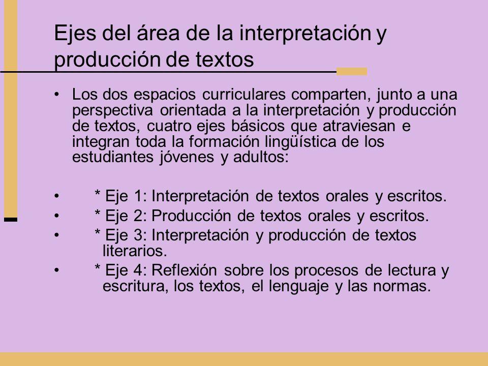 Ejes del área de la interpretación y producción de textos Los dos espacios curriculares comparten, junto a una perspectiva orientada a la interpretaci