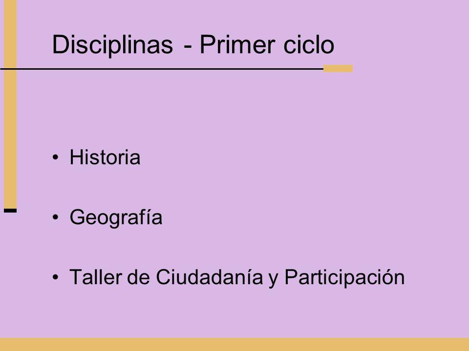 Disciplinas - Primer ciclo Historia Geografía Taller de Ciudadanía y Participación