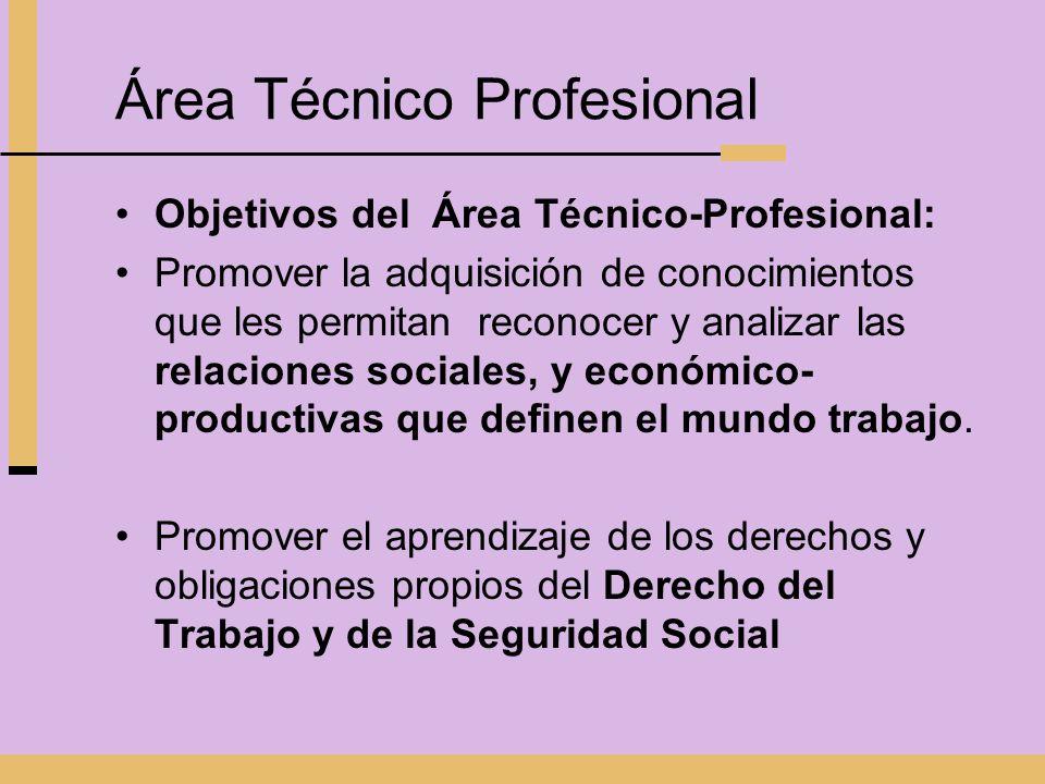 Área Técnico Profesional Objetivos del Área Técnico-Profesional: Promover la adquisición de conocimientos que les permitan reconocer y analizar las re