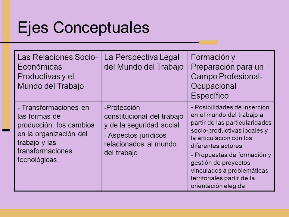 Ejes Conceptuales Las Relaciones Socio- Económicas Productivas y el Mundo del Trabajo La Perspectiva Legal del Mundo del Trabajo Formación y Preparaci
