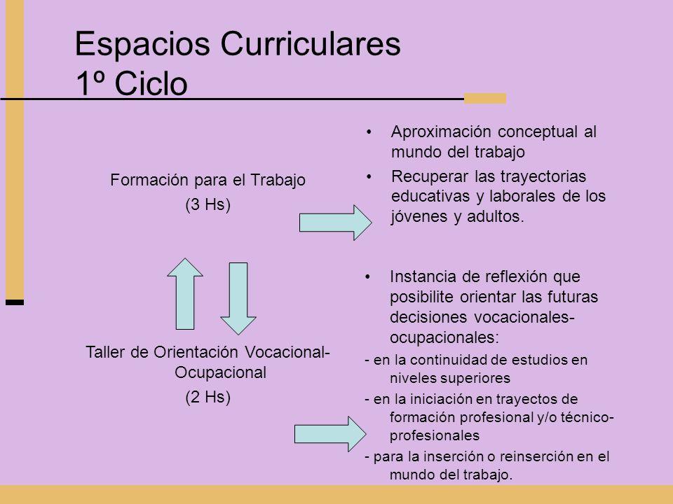 Espacios Curriculares 1º Ciclo Formación para el Trabajo (3 Hs) Aproximación conceptual al mundo del trabajo Recuperar las trayectorias educativas y l