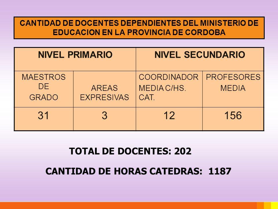 CANTIDAD DE DOCENTES DEPENDIENTES DEL MINISTERIO DE EDUCACION EN LA PROVINCIA DE CORDOBA NIVEL PRIMARIONIVEL SECUNDARIO MAESTROS DE GRADO AREAS EXPRES
