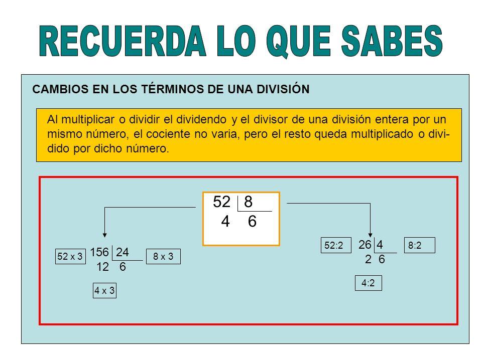 CAMBIOS EN LOS TÉRMINOS DE UNA DIVISIÓN Al multiplicar o dividir el dividendo y el divisor de una división entera por un mismo número, el cociente no varia, pero el resto queda multiplicado o divi- dido por dicho número.