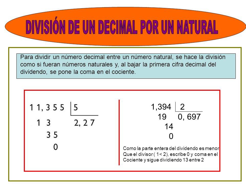 Para dividir un número decimal entre un número natural, se hace la división como si fueran números naturales y, al bajar la primera cifra decimal del dividendo, se pone la coma en el cociente.