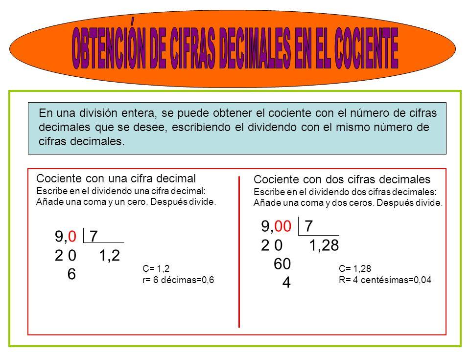 En una división entera, se puede obtener el cociente con el número de cifras decimales que se desee, escribiendo el dividendo con el mismo número de cifras decimales.