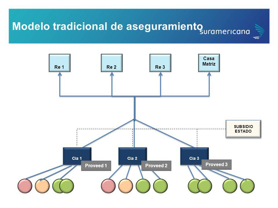 Modelo tradicional de aseguramiento Cia 3 Re 1Re 2Re 3 Casa Matriz SUBSIDIO ESTADO SUBSIDIO ESTADO Cia 1 Cia 2 Proveed 1Proveed 2Proveed 3