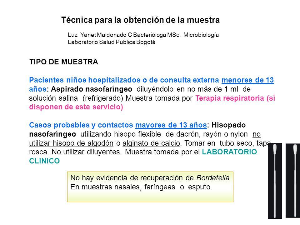 Luz Yanet Maldonado C Bacterióloga MSc. Microbiología Laboratorio Salud Publica Bogotá Técnica para la obtención de la muestra TIPO DE MUESTRA Pacient