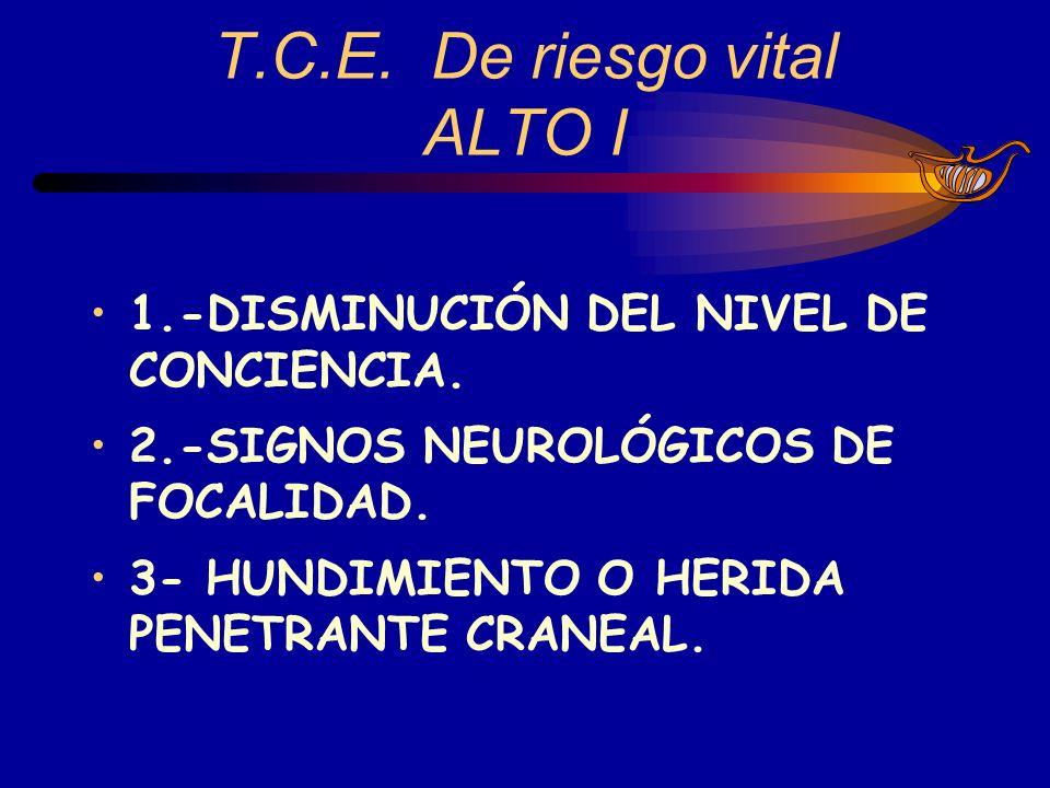 1.-DISMINUCIÓN DEL NIVEL DE CONCIENCIA. 2.-SIGNOS NEUROLÓGICOS DE FOCALIDAD. 3- HUNDIMIENTO O HERIDA PENETRANTE CRANEAL. T.C.E. De riesgo vital ALTO I