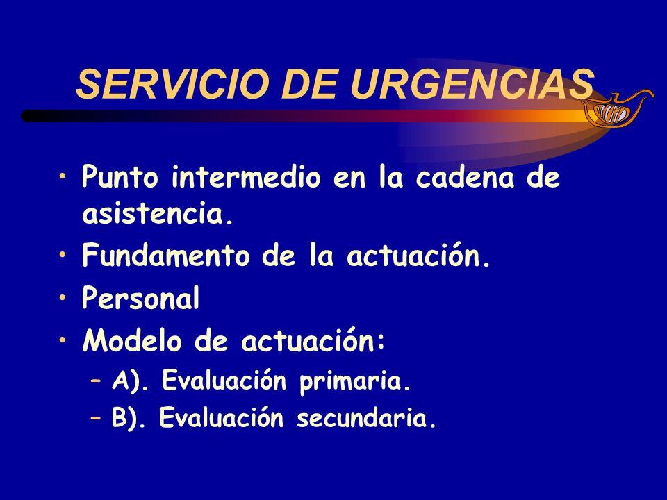 SERVICIO DE URGENCIAS Punto intermedio en la cadena de asistencia. Fundamento de la actuación. Personal Modelo de actuación: –A). Evaluación primaria.