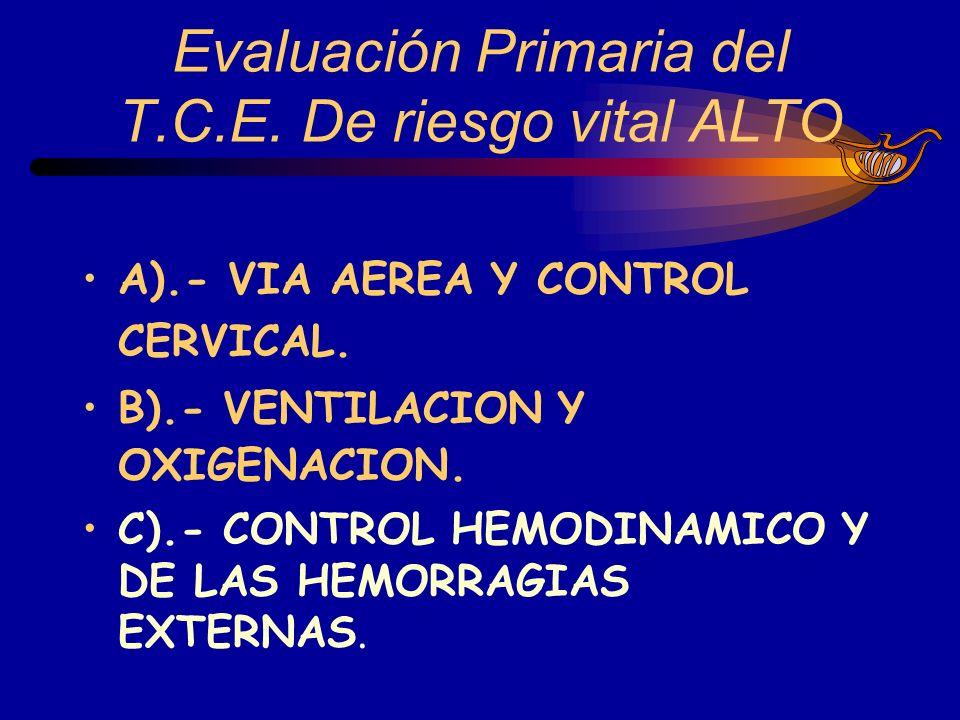 A).- VIA AEREA Y CONTROL CERVICAL. B).- VENTILACION Y OXIGENACION. C).- CONTROL HEMODINAMICO Y DE LAS HEMORRAGIAS EXTERNAS.