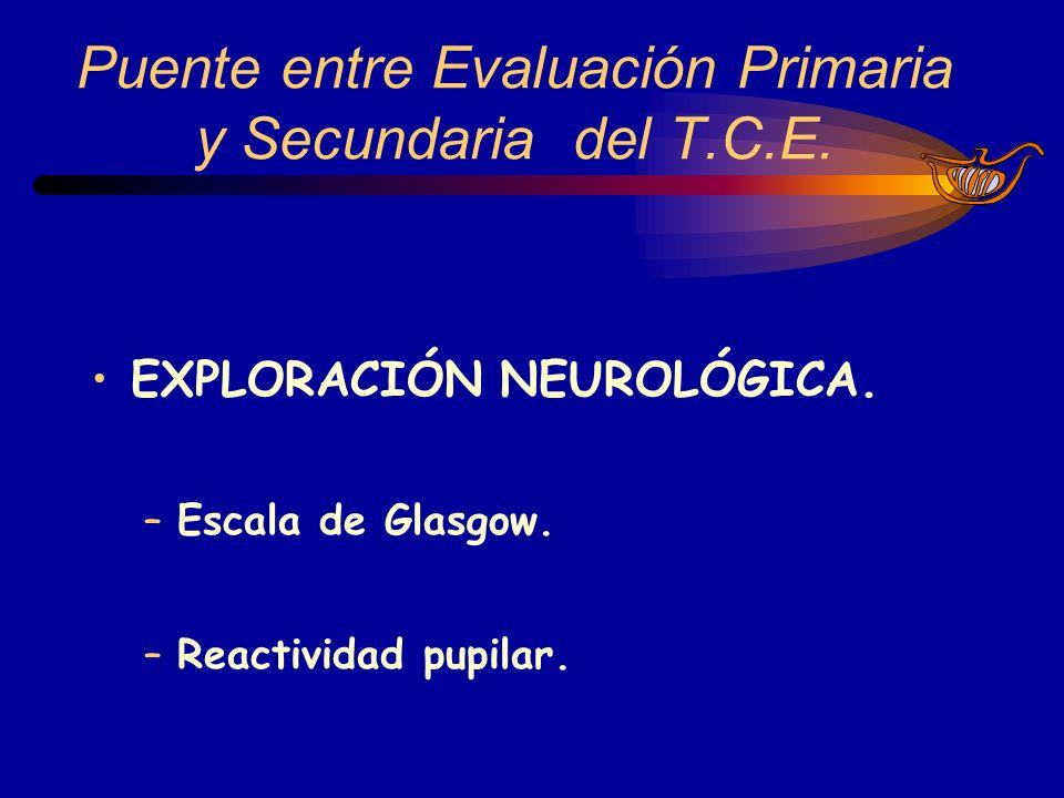 EXPLORACIÓN NEUROLÓGICA. –Escala de Glasgow. –Reactividad pupilar. Puente entre Evaluación Primaria y Secundaria del T.C.E.