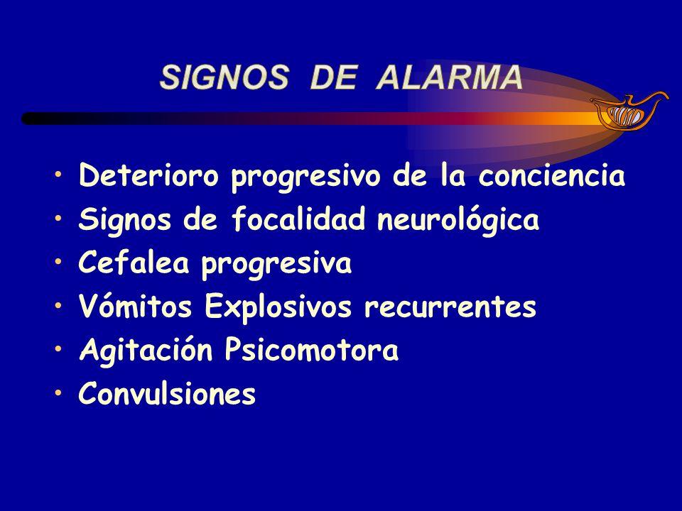 Deterioro progresivo de la conciencia Signos de focalidad neurológica Cefalea progresiva Vómitos Explosivos recurrentes Agitación Psicomotora Convulsi