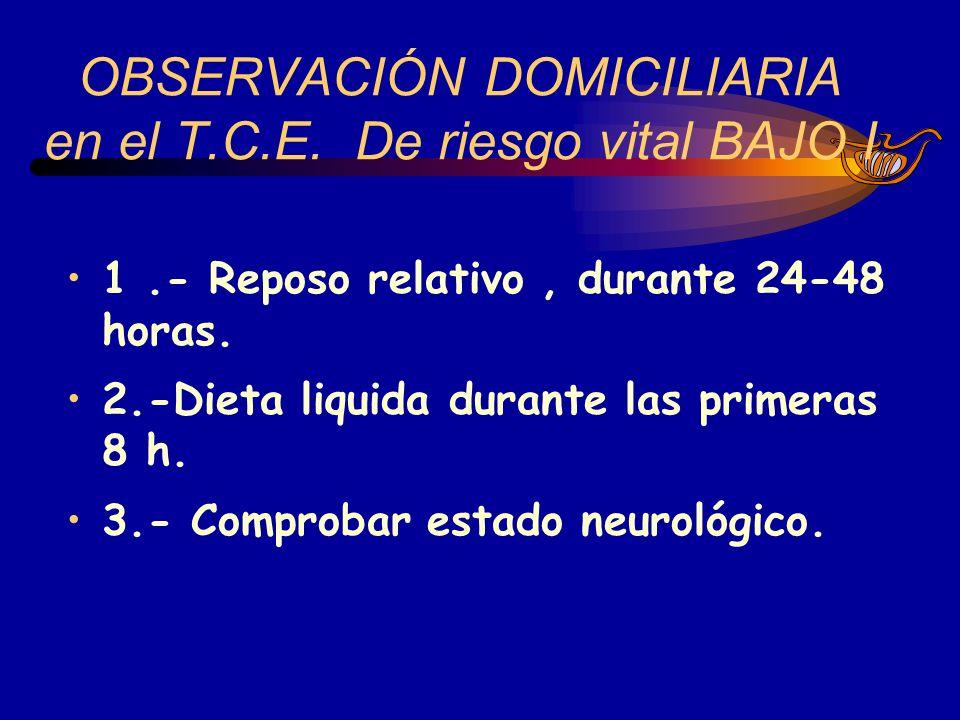 1.- Reposo relativo, durante 24-48 horas. 2.-Dieta liquida durante las primeras 8 h. 3.- Comprobar estado neurológico. OBSERVACIÓN DOMICILIARIA en el