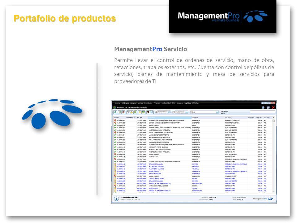 Portafolio de productos ManagementPro Servicio Permite llevar el control de ordenes de servicio, mano de obra, refacciones, trabajos externos, etc. Cu
