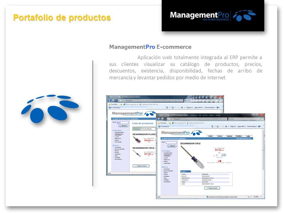 Portafolio de productos ManagementPro E-commerce Aplicación web totalmente integrada al ERP permite a sus clientes visualizar su catálogo de productos