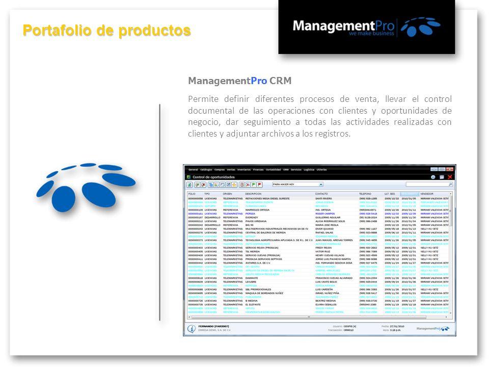 Portafolio de productos ManagementPro CRM Permite definir diferentes procesos de venta, llevar el control documental de las operaciones con clientes y