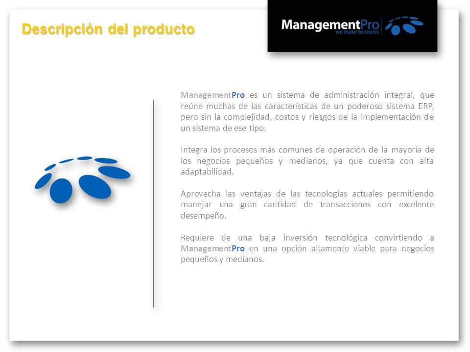 ManagementPro es un sistema de administración integral, que reúne muchas de las características de un poderoso sistema ERP, pero sin la complejidad, c