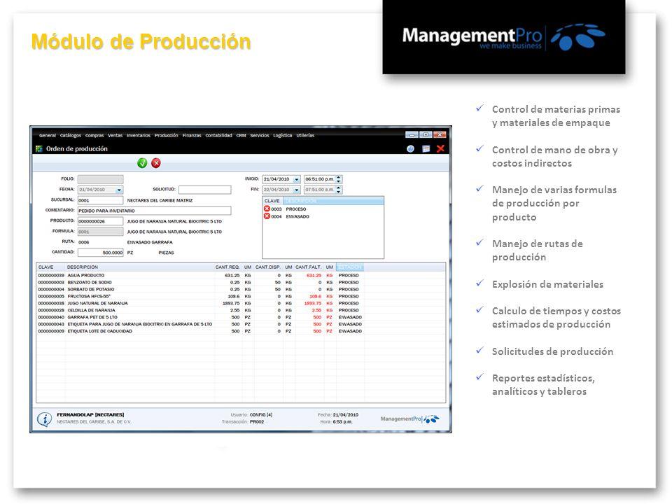 Módulo de Producción Control de materias primas y materiales de empaque Control de mano de obra y costos indirectos Manejo de varias formulas de produ