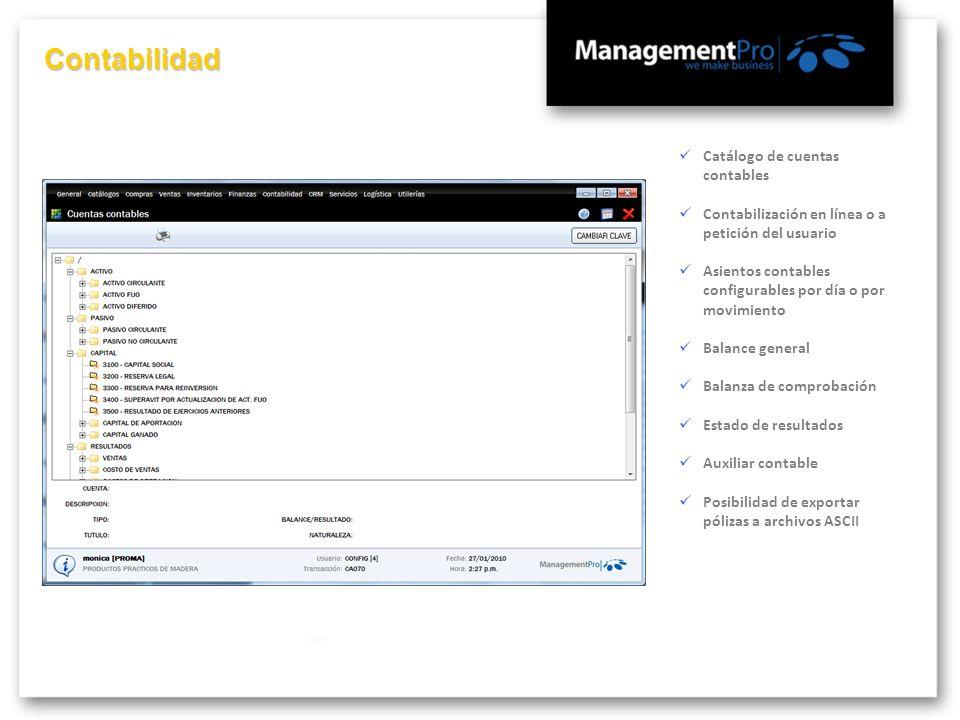 Contabilidad Catálogo de cuentas contables Contabilización en línea o a petición del usuario Asientos contables configurables por día o por movimiento