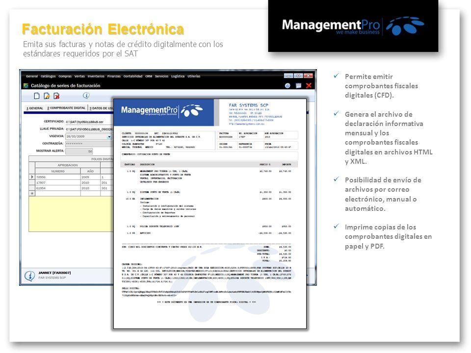 Facturación Electrónica Emita sus facturas y notas de crédito digitalmente con los estándares requeridos por el SAT Permite emitir comprobantes fiscal