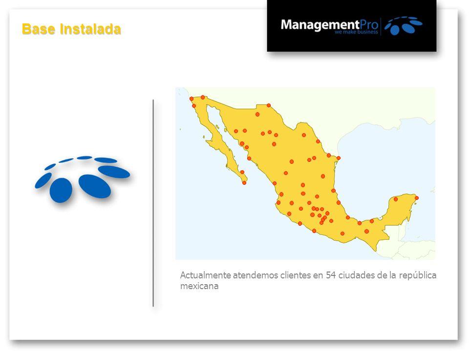 Base Instalada Actualmente atendemos clientes en 54 ciudades de la república mexicana