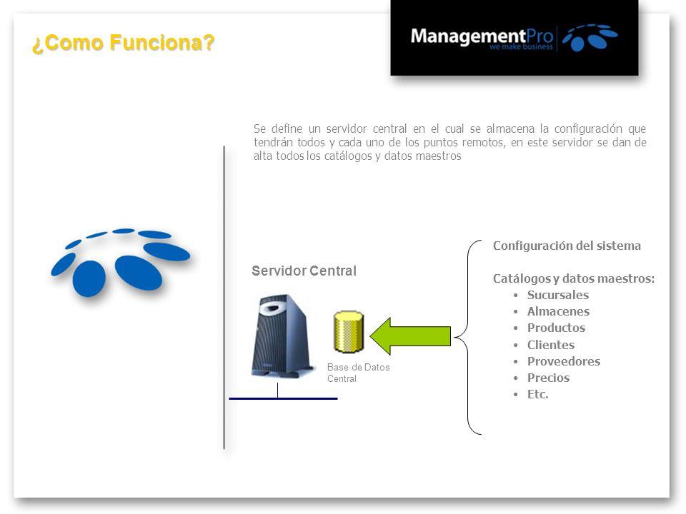 Servidor Central Base de Datos Central Se define un servidor central en el cual se almacena la configuración que tendrán todos y cada uno de los punto