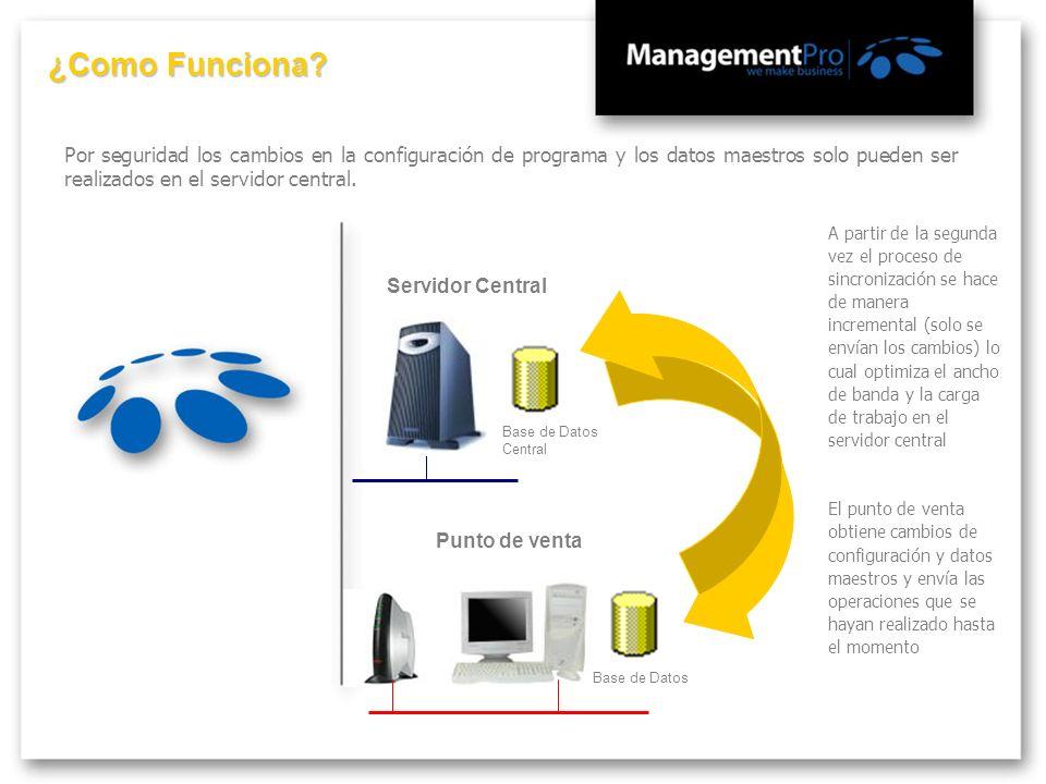 Por seguridad los cambios en la configuración de programa y los datos maestros solo pueden ser realizados en el servidor central. Servidor Central Bas