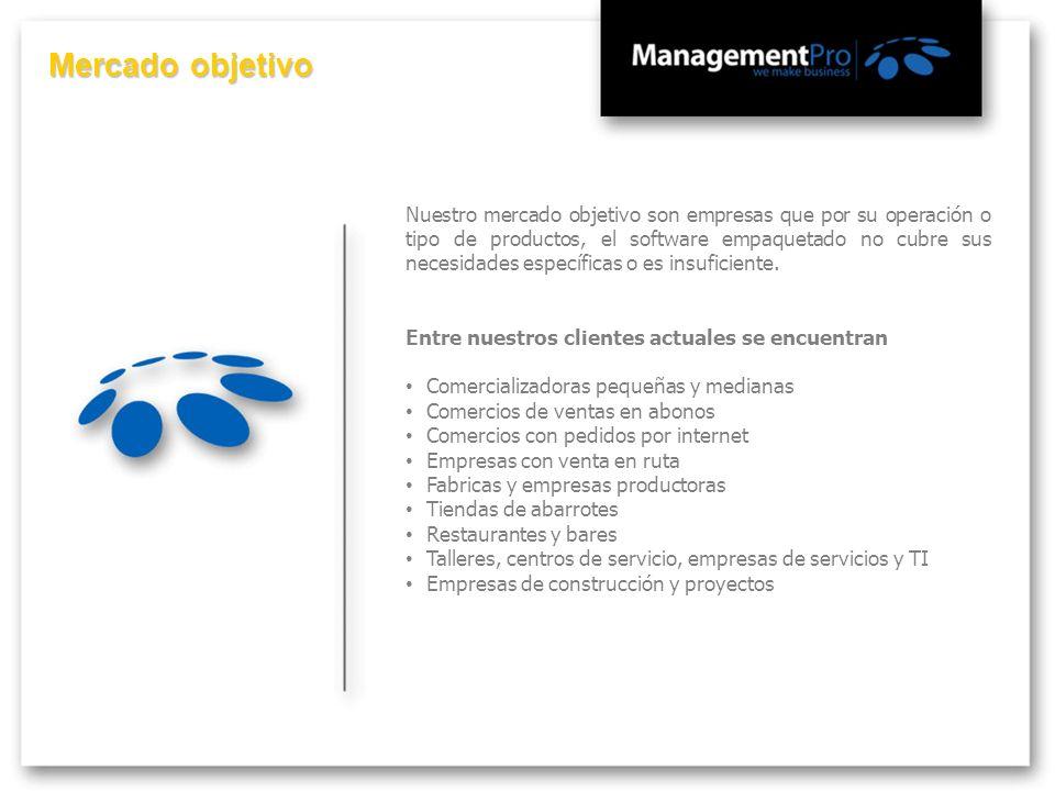 Mercado objetivo Nuestro mercado objetivo son empresas que por su operación o tipo de productos, el software empaquetado no cubre sus necesidades espe