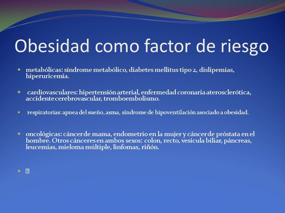 Obesidad como factor de riesgo metabólicas: síndrome metabólico, diabetes mellitus tipo 2, dislipemias, hiperuricemia. cardiovasculares: hipertensión