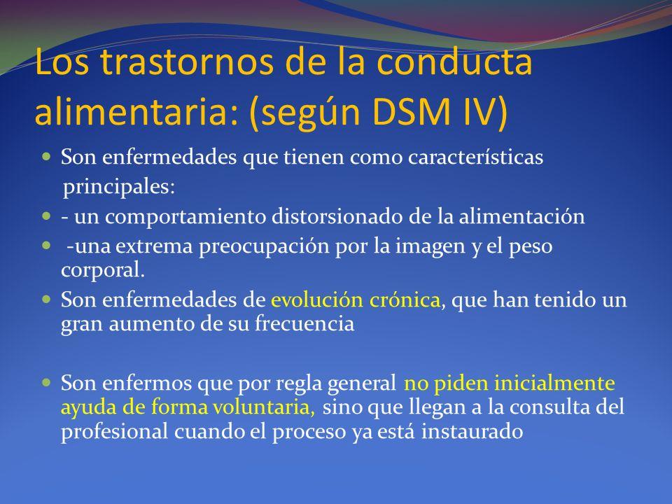 Los trastornos de la conducta alimentaria: (según DSM IV) Son enfermedades que tienen como características principales: - un comportamiento distorsion
