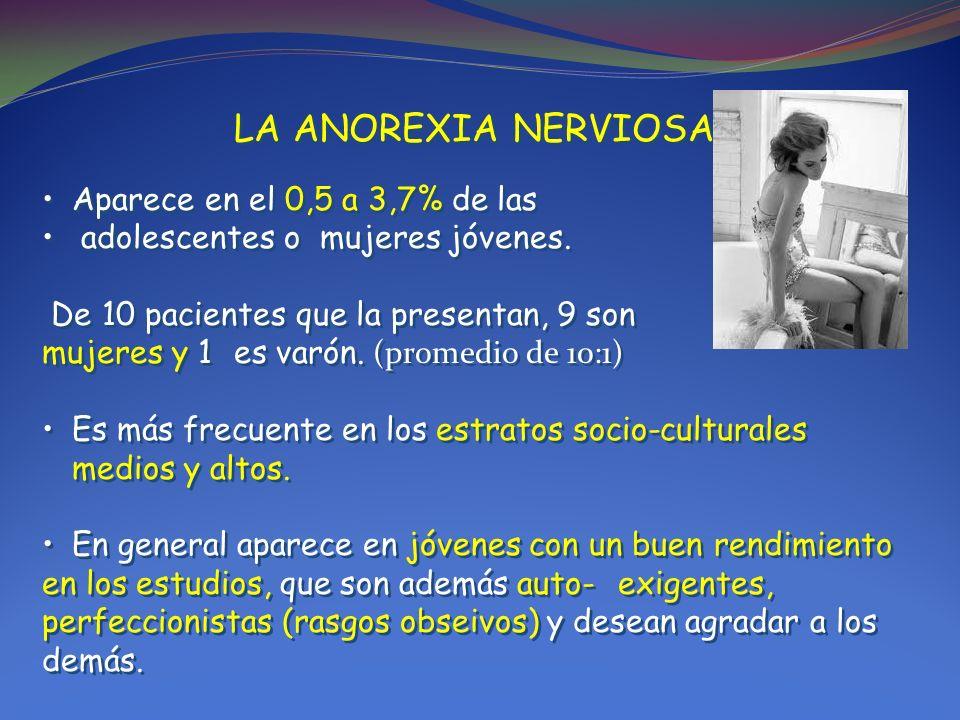 LA ANOREXIA NERVIOSA: Aparece en el 0,5 a 3,7% de las adolescentes o mujeres jóvenes. De 10 pacientes que la presentan, 9 son mujeres y 1 es varón. (p