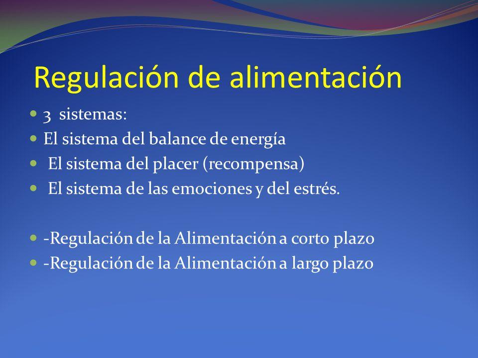 Regulación de alimentación 3 sistemas: El sistema del balance de energía El sistema del placer (recompensa) El sistema de las emociones y del estrés.