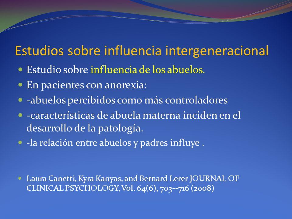 Estudios sobre influencia intergeneracional Estudio sobre influencia de los abuelos. En pacientes con anorexia: -abuelos percibidos como más controlad